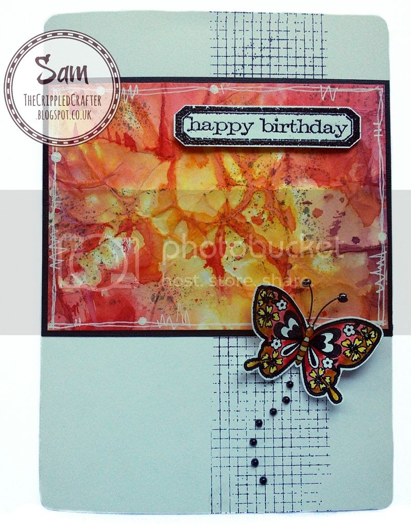 Tim Holtz Distress Ink, Mixed Media Card by The Crippled Crafter