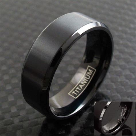 mm black titanium mens brushed finish stripe wedding