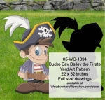 Bucko Bay Bailey the Pirate Yard Art Woodworking Pattern - fee plans from WoodworkersWorkshop® Online Store - pirates,childrens,kids,swords,childs,buchaneers,Halloween,yard art,painting wood crafts,jigsawing patterns,drawings,jig sawing plywood,plywoodworking plans,woodworkers projects,workshop blueprints