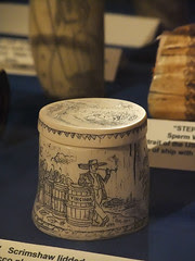 Scrimshaw lidded cup of bone or tooth depictin...