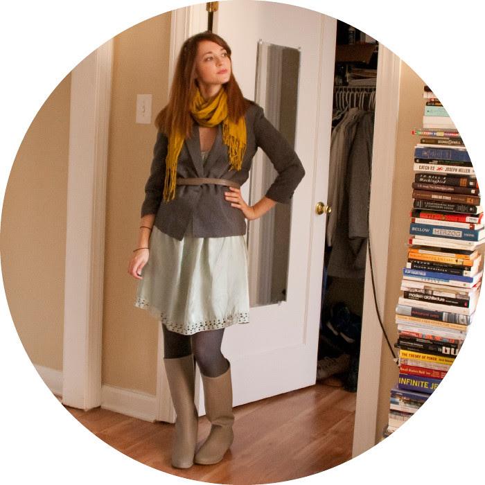 outfit blog, dashdotdotty, belted jacket, green, ochre, silk dress, boots, fall, business casual