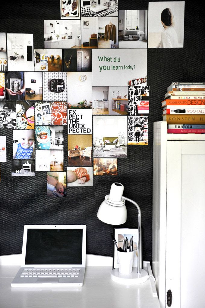 Galerie de photos au-dessus du bureau  #inspiration board #desk