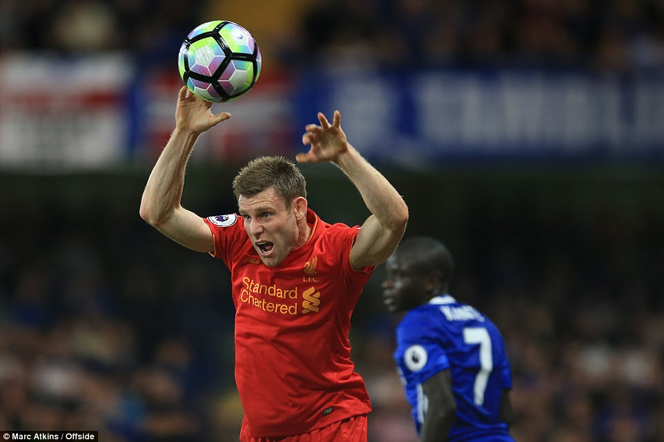 James Milner takes a throw-in as Liverpool begin to dominate possession in the second half of the encounter