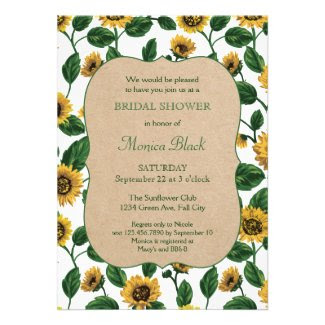 Sunflower Rustic Frame Bridal Shower Invitation