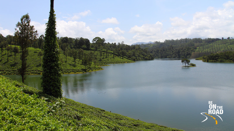 Sholayar Dam near Valparai is surrounded by tea estates making for a fantastic sight