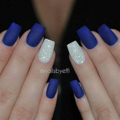 Royal blue nails with gorgeous sparkly accent!   My