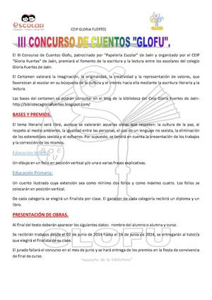 III Concurso Glofu. CEIP Gloria Fuertes (Jaén)