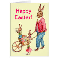 Vintage Easter Rabbit and Family Card