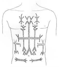 """Magical"" lizard tattoos (ligwañula¸singular) were sometimes worn on the chests and backs of Makonde men and women. In some sense, they were believed to enhance virility for men and fertility for women."