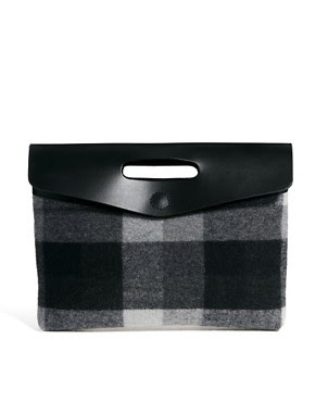 Image 1 of ASOS Leather And Check Oversized Clutch Bag
