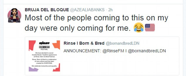 The ego has landed: Azealia claimed most of the tickets had been bought by her fans
