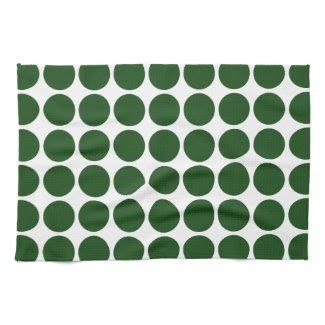 Green Polka Dots on White Hand Towels