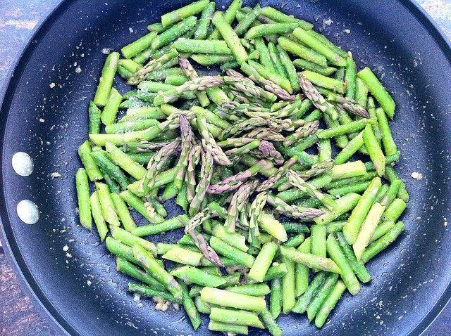 Asparagus Tips Added to Saute Pan