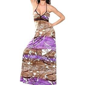LONG MAXI HALTER DRESS BOHO SUN VINTAGE CELEBRITY TUBE SEXY PRINTED GOWN