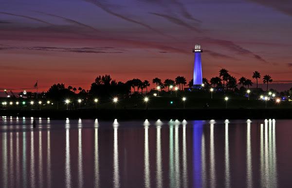 Long Beach Lighthouse at twilight