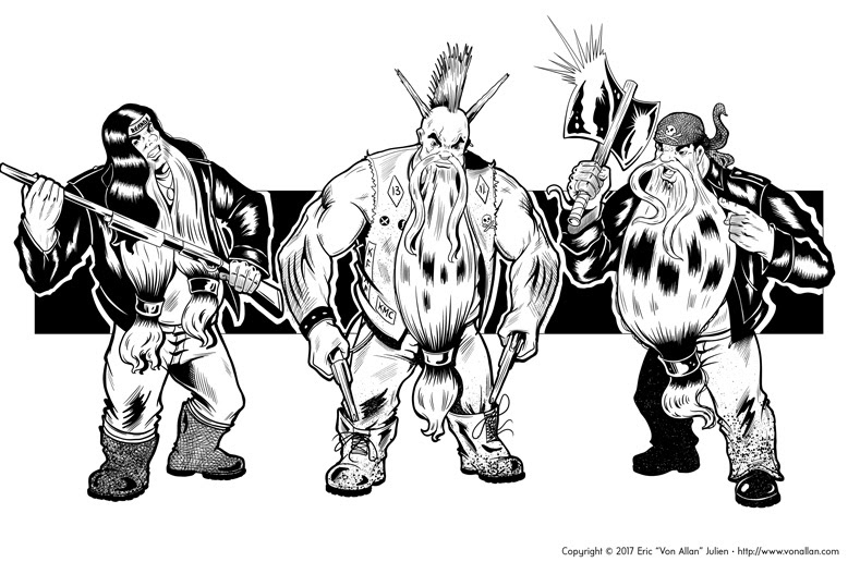 Inked illustration of a group of fantasy biker dwarfs by Von Allan