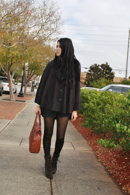 Cute for Fall. Lace Shorts with black tights, boots and sweater