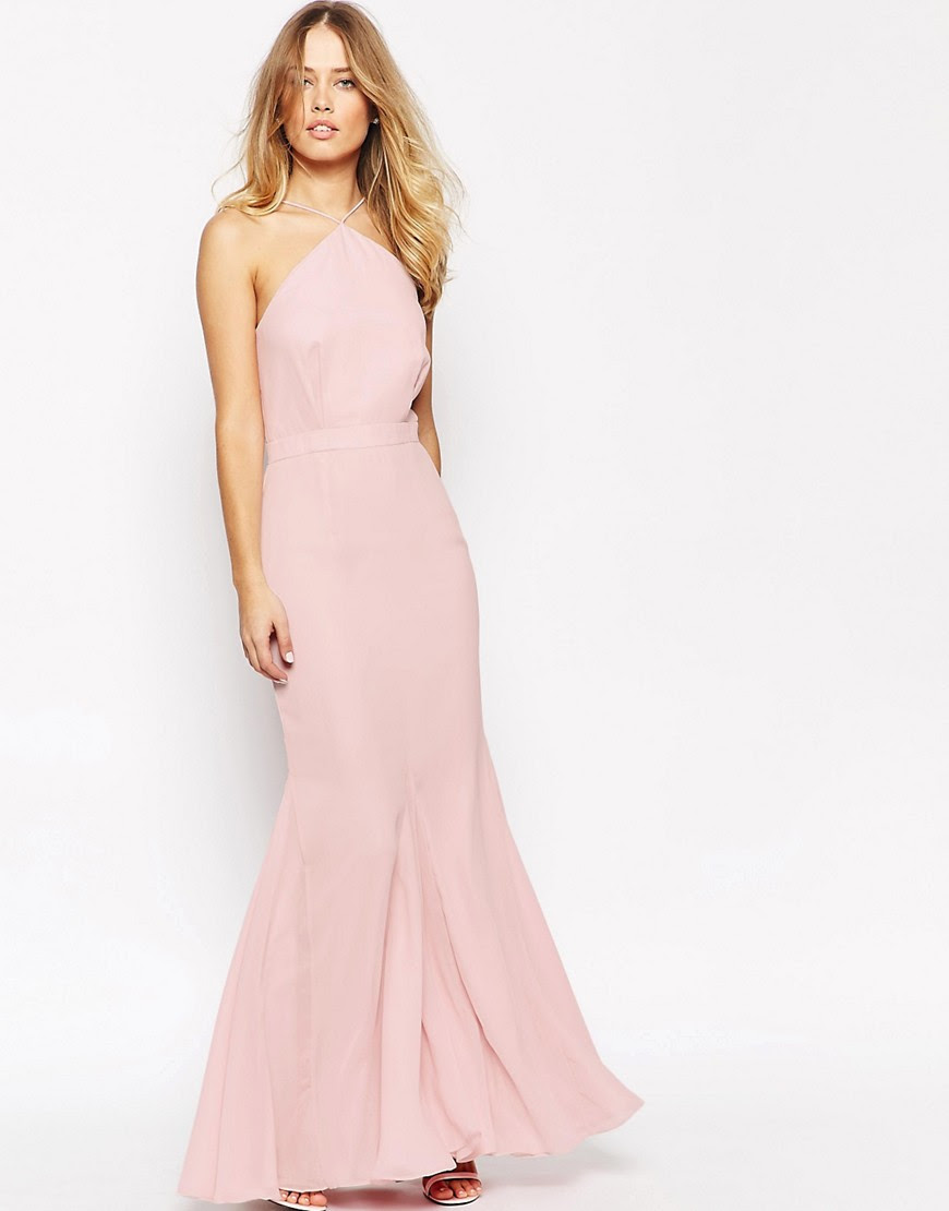 Image 1 of VLabel London Halterneck Maxi Dress With Fluted Hem