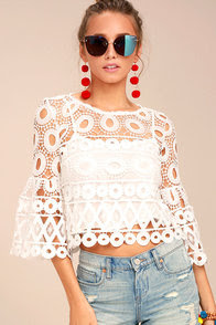 Nearness of You White Crochet Crop Top
