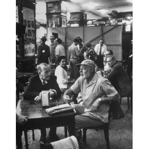 Noel Coward and Ernest Hemingway at Sloppy Joe's Bar, Key West, Florida