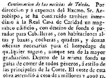 Noticia de la Construcción de la Fonda de la Caridad de Lorenzana en el Correo de Madrid o de los ciegos el 20 de octubre de 1786