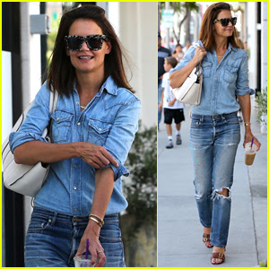 Katie Holmes Rocks Denim on Denim in Beverly Hills