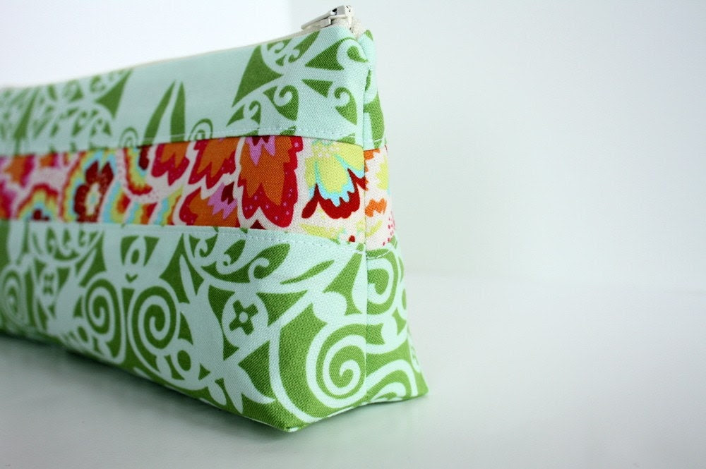 FREE Personalization for a Limited Time--Cosmetic Makeup Bag - Grasshopper - Handmade - Made to Order