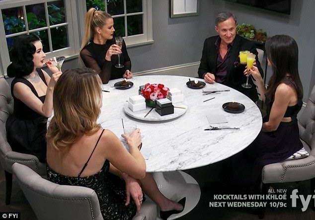 Round table: Plastic surgeon Terry Dubrow, of the TV show Botched, is seen to Khloe's left