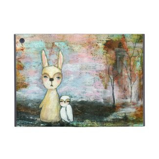 Woodland Creatures Owl and Rabbit Abstract Art Cases For iPad Mini