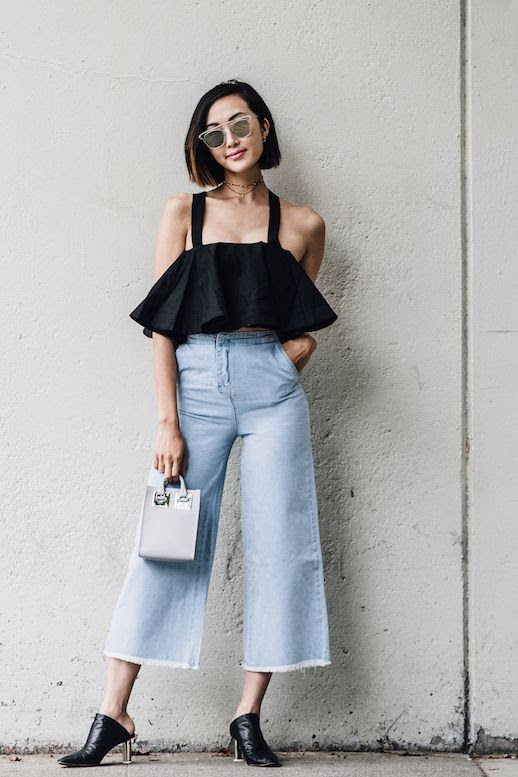 Le Fashion Blog Cold Shoulder Top Denim Culottes Black Mules Box Bag Via The Chriselle Factor