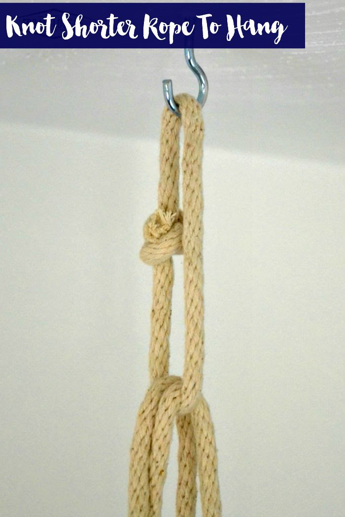 Tying a shorter length of rope over the longer 2 lengths of rope for extra balance and stability