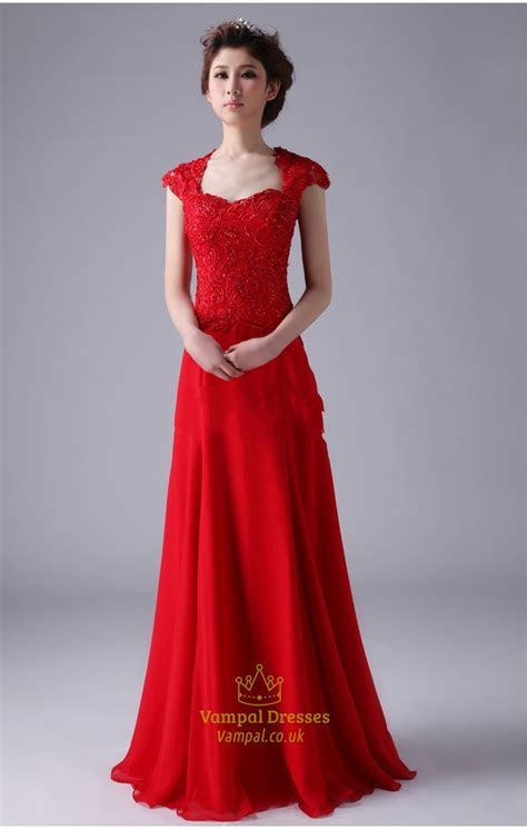 Red Cap Sleeve Prom Dresses ,Red Long Chiffon Prom Dress