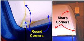 AeroCap Corners: Before - sharp, after - round