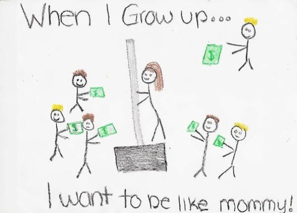 Little Girl Drew A Picture Of Her Mom At Work. The Mother Is Actually Selling Snow Shovels