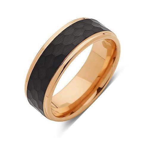 Rose Gold Tungsten Ring   Hammered Wedding Band   Black