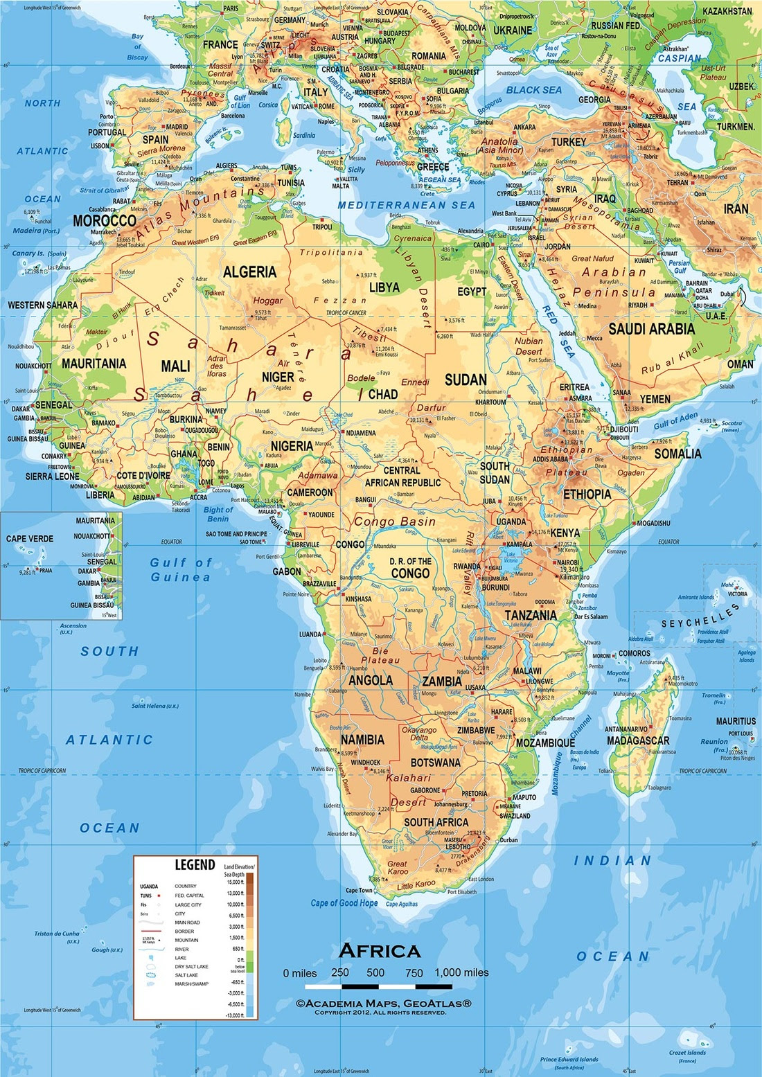 Map Of Africa Physical Geography.25 Beautiful Africa Physical Features Map