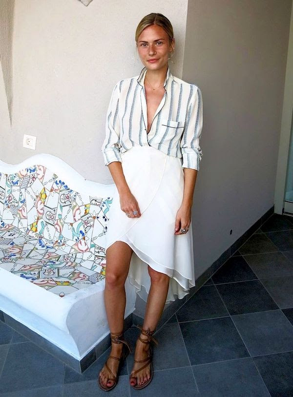 Le Fashion Blog -- Vacation Style Inspiration: Pandora Sykes In A Striped Button Down Shirt, White Skirt And Ankle Wrap Sandals -- photo Le-Fashion-Blog-Vacation-Style-Inspiration-Pandora-Sykes-Striped-Button-Down-White-Skirt-Ankle-Wrap-Sandals.jpg