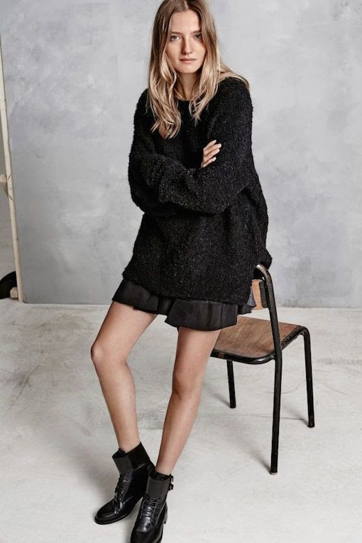 Le Fashion Blog Hunky Dory FW AW 2015 Lookbook Curly Teddy Knit Sweater Pleated Mini Skirt Leather Combat Boots Fall Winter Style