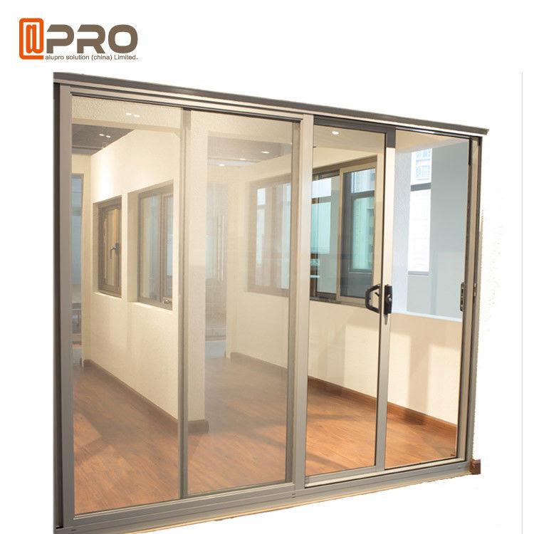 Aluminium Kaca Tempered Masuk Pintu Geser Komersial Disesuaikan Ukuran Aluminium Pintu Geser Rol Pintu Geser Jala