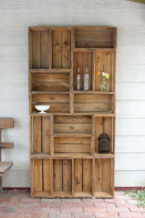 old crate bookshelf