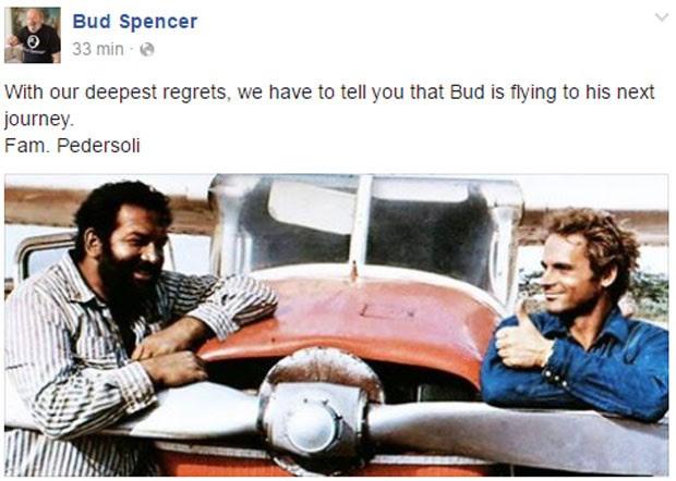 Página oficial de Bud Spencer confirma morte com imagem do ator e Terrence Hill (Foto: Reprodução/Facebook/BudSpencer)