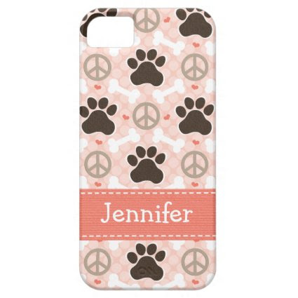 Peace Love Dogs Paw Print iPhone 5 Cases