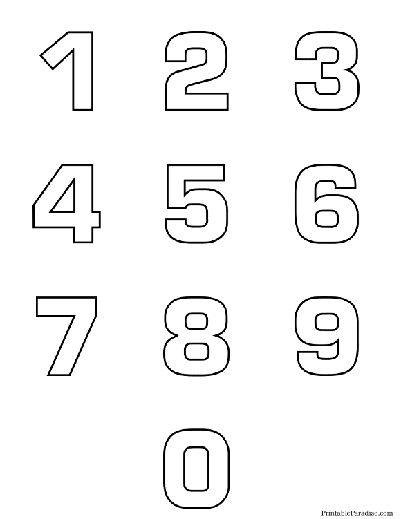 Printable Numbers - Print Outline Bubble Numbers