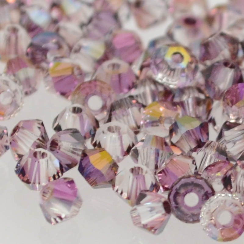 27753011188005 Swarovski Elements Bead - 3 mm Faceted Xilion Bicone (5328) - Crystal Lilac Shadow (36)