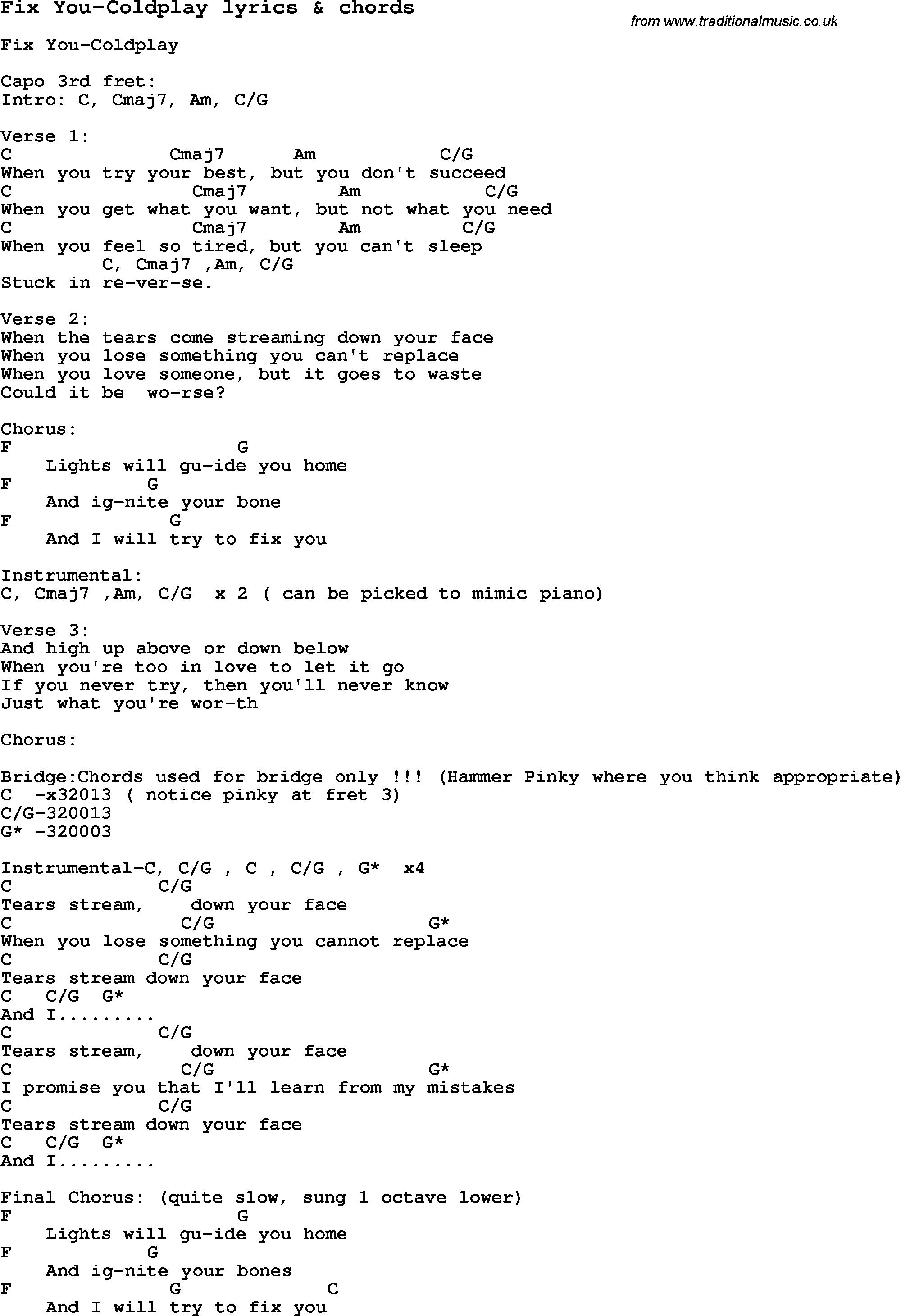 Coldplay Clocks Chord   copd blog t