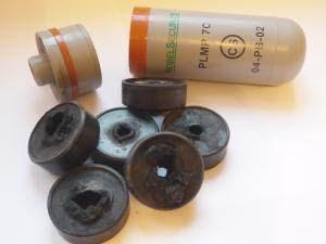 Grenage lacrymogène classique avec ses palets