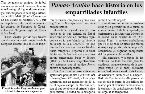 Dos campeonatos y sun subcampeonato para la conferencia Infantil de los Pumas Acatlán... DA CLICK EN LA IMAGEN PARA VERLA A CUADRO COMPLETO EN OTRA VENTANA