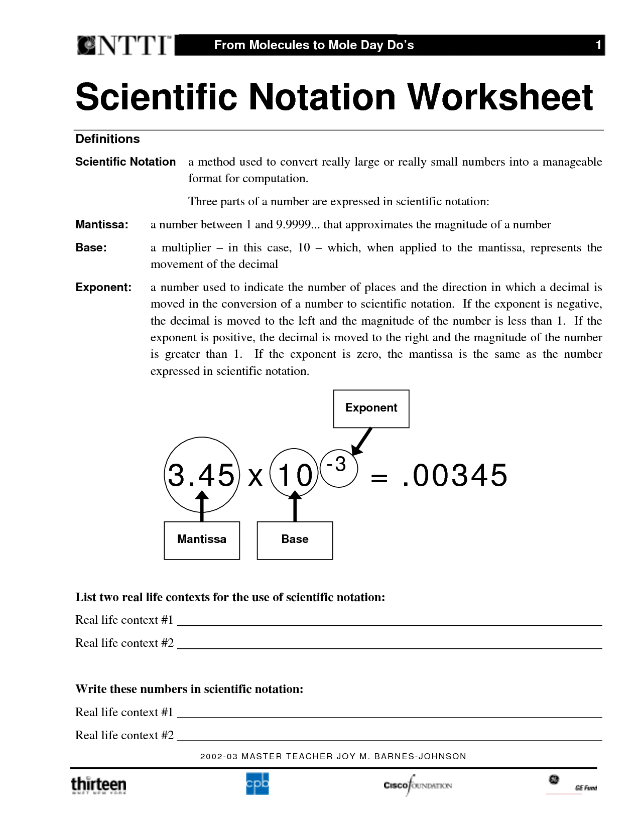 Scientific Notation Operations Worksheets Free  scientific notation worksheetsscientific