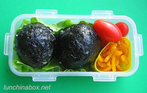 Meatball rice bomb bento lunch for preschooler
