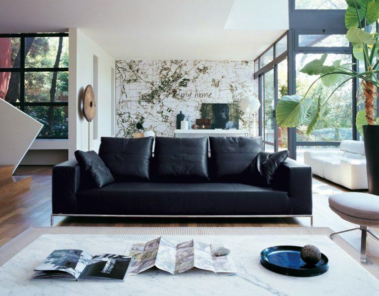 Wohnzimmer Ideen für schwarzes Sofa - Wie richtig kombinieren?